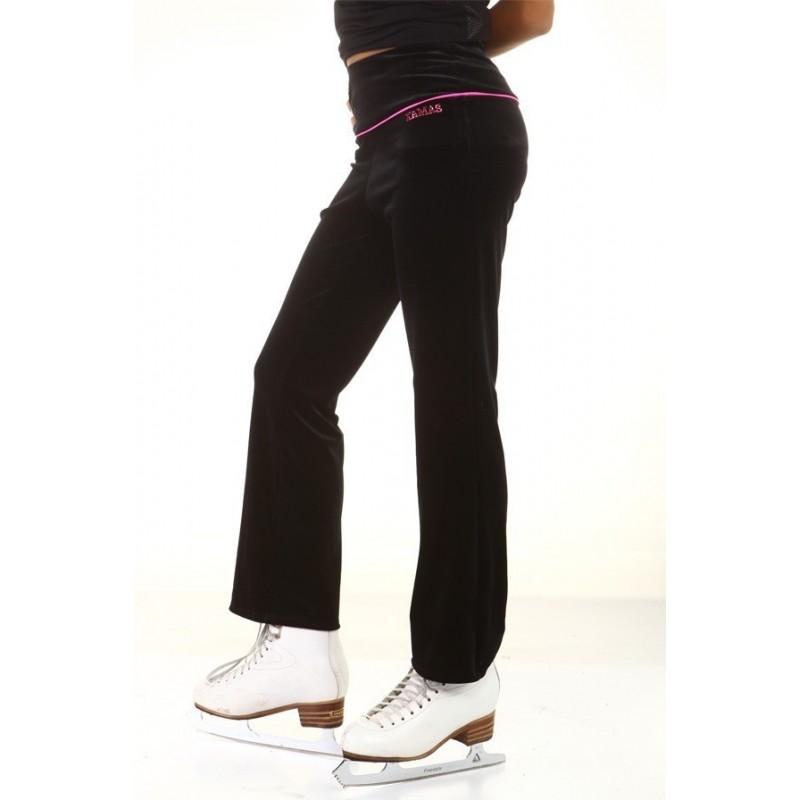 花样滑冰长裤, 黑色, 粉红色 水钻, 长