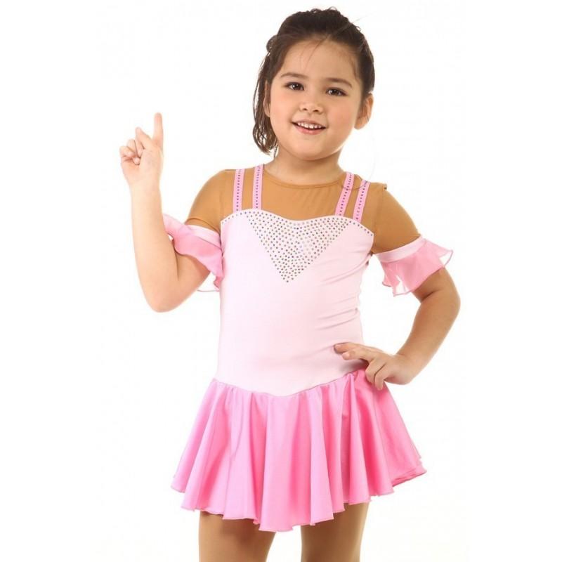 花样滑冰裙,粉红色,水钻,短袖