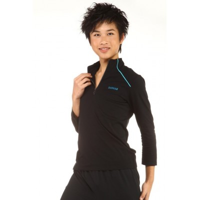 T-Shirt - figure skating - black - sky blue stripes - long sleeves - zip-up collar