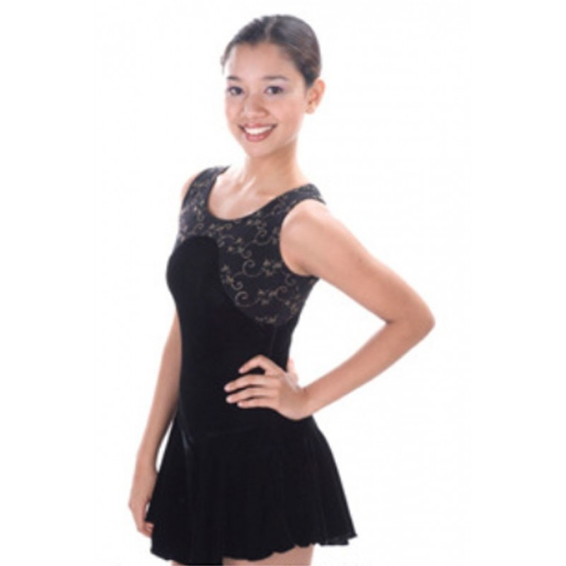 Figure skating dress - black - sleeveless 1
