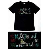 T恤,黑色,多色水钻