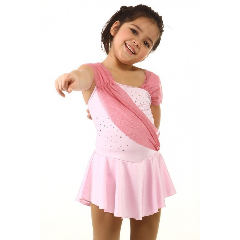Figure skating dress - pink - glitter sash - diamante