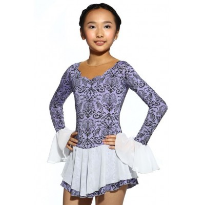 Figure skating dress - purple - long-sleeves - diamante 2