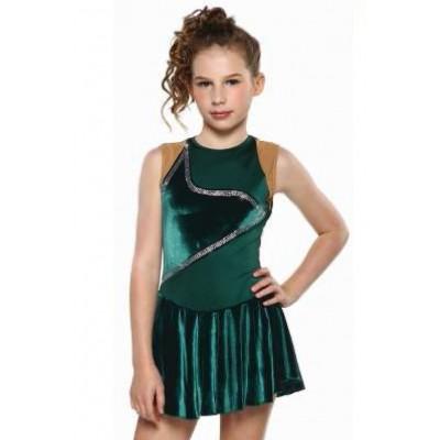 Figure skating dress - green - preciosa crystals - sleeveless