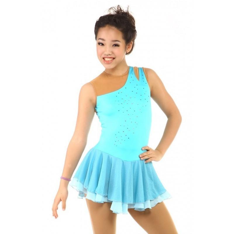 Figure skating dress - blue - sleeveless - rhinestone