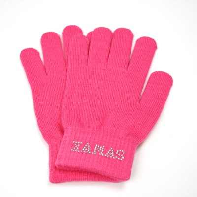 Knitted protective ice skating gloves figure skating - Hot Pink