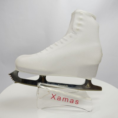 Lycra boot cover - figure skating winter series - White