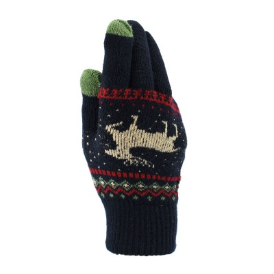 Classic Adults Reindeer Motif Touch Screen Knitted Gloves