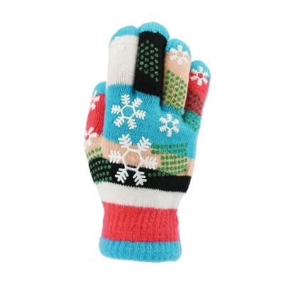 大众最爱 儿童矽胶雪花针织手套