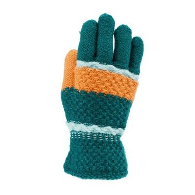儿童针织手套 - 深绿底
