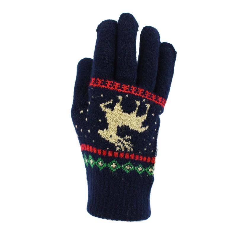 大众最爱 儿童驯鹿图案针织手套