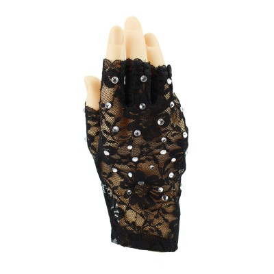 青春时尚 成人黑色蕾丝烫钻表演半指手套