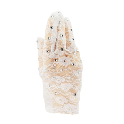 Adults white lace sparkling performance gloves