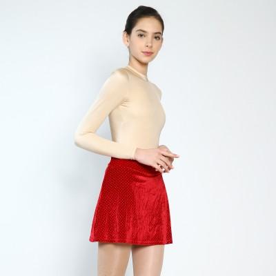 Trendy Pro Velvet Protective Skort - Red Silver Glitter Dots
