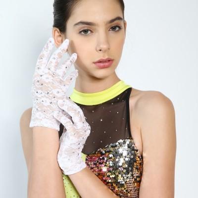 青春时尚 成人白色蕾丝烫钻表演手套