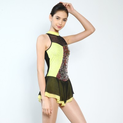 Trendy Pro Neon Figure Skating Dress - Yellow