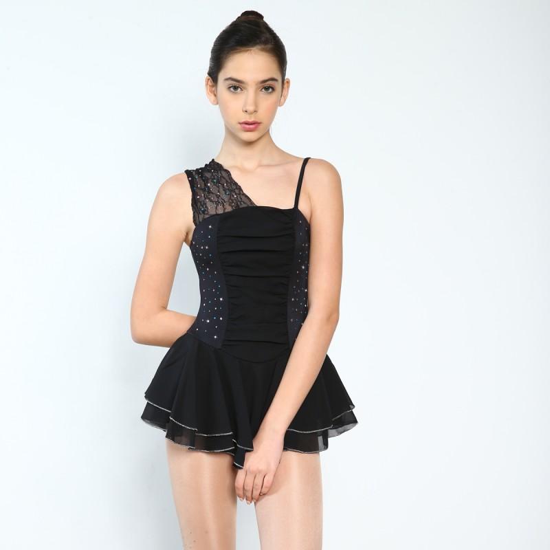 花样滑冰裙,黑色,无袖,水钻
