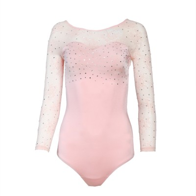 Leotard rhinestones sweetheart round lace long sleeves