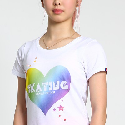 Classic XAMAS Rainbow Heart Skating T-Shirt