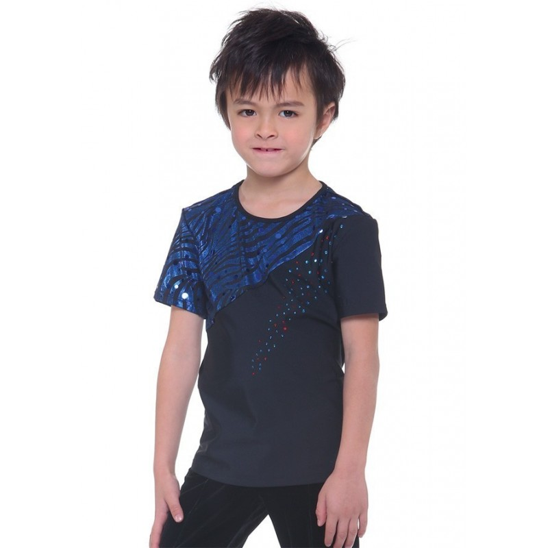 Figure skating top - blue - short sleeves - sequins