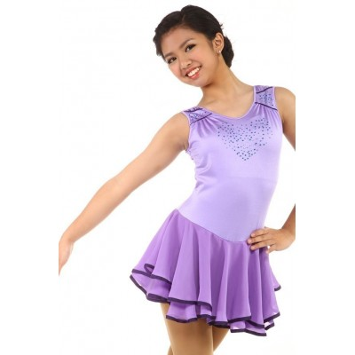 Figure skating dress - purple - rhinestone - sleeveless 1