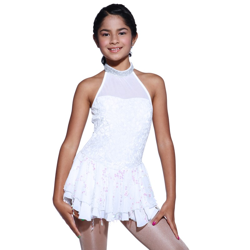 Trendy Pro Snow White Figure Skating Dress