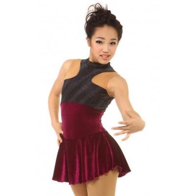 青春时尚 Patricia 花样滑冰表演服比赛裙 - 酒红
