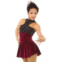 Figure skating dress - red - sleeveless - diamante 8