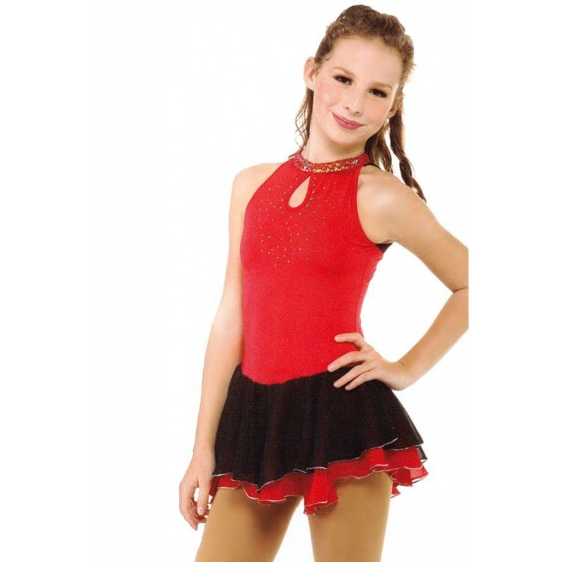 花样滑冰裙,红色,露背领,水钻