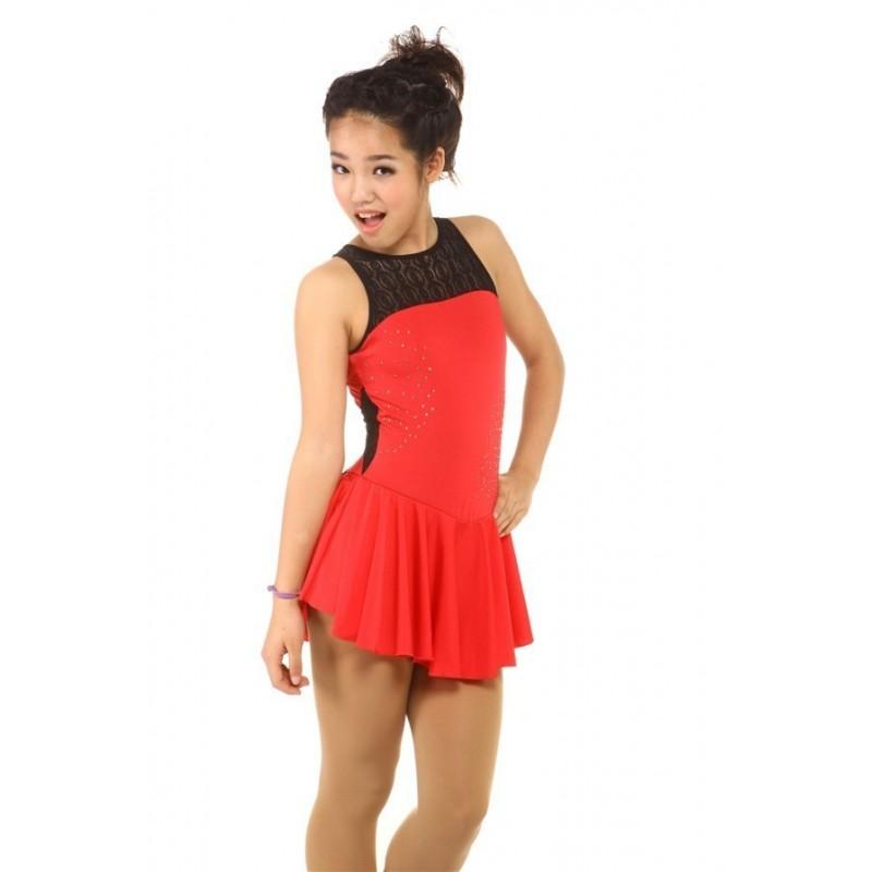 Figure skating dress - red - sleeveless - diamante 5