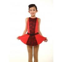 花样滑冰裙,红色,黑色花边,水钻,无袖