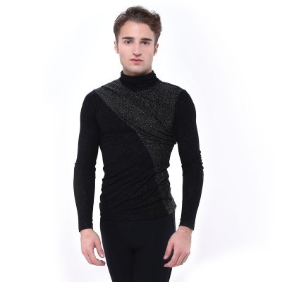Figure skating top - black - long sleeves - sparkling - Black