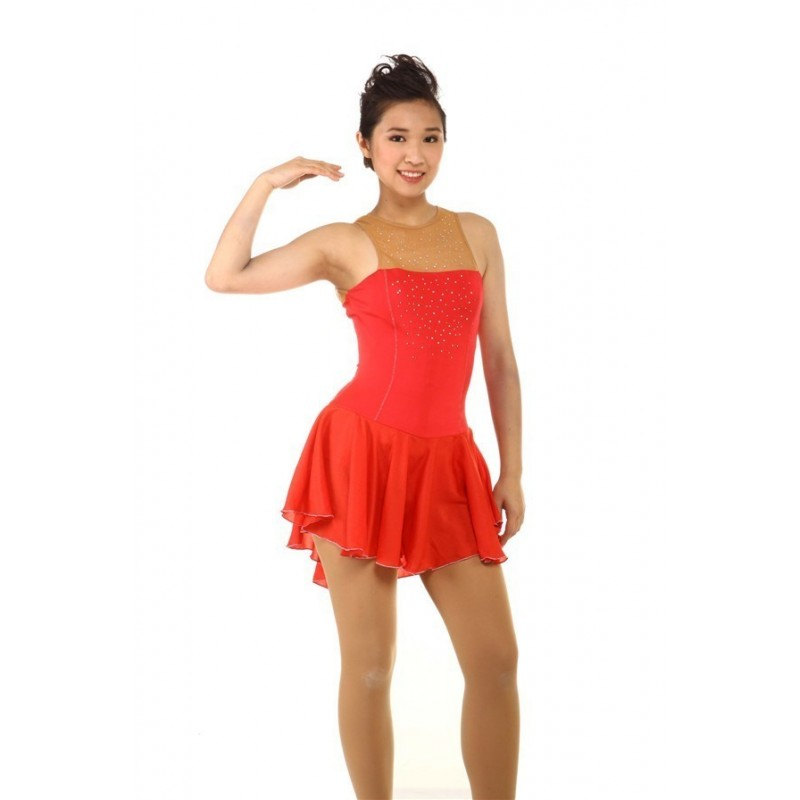 Figure skating dress - red - sleeveless - diamante 3