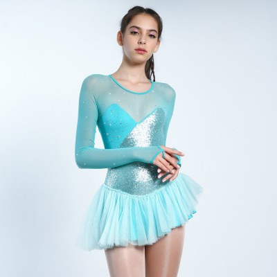 Trendy Pro Elsa Figure Skating Dress - Turquoise