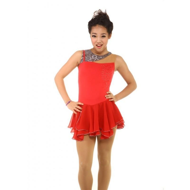 花样滑冰裙,红色,无袖,水钻,亮片