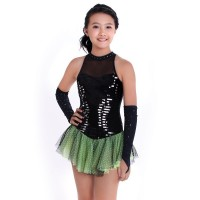 Figure skating dress - halter-neck - diamante - sequins - gloves