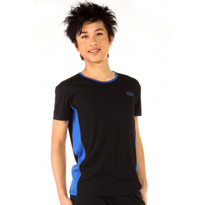 Sports T-shirt - black - blue panel - round-neck - short sleeves