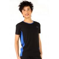 运动T恤,黑色,蓝色面板,圆领,短袖