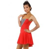花样滑冰裙,红色,无袖,水钻