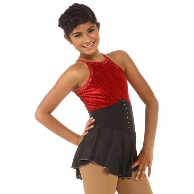 花样滑冰裙,红色,黑色,水钻,无袖