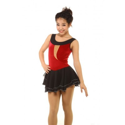 Figure skating dress - red - sleeveless - diamante 2