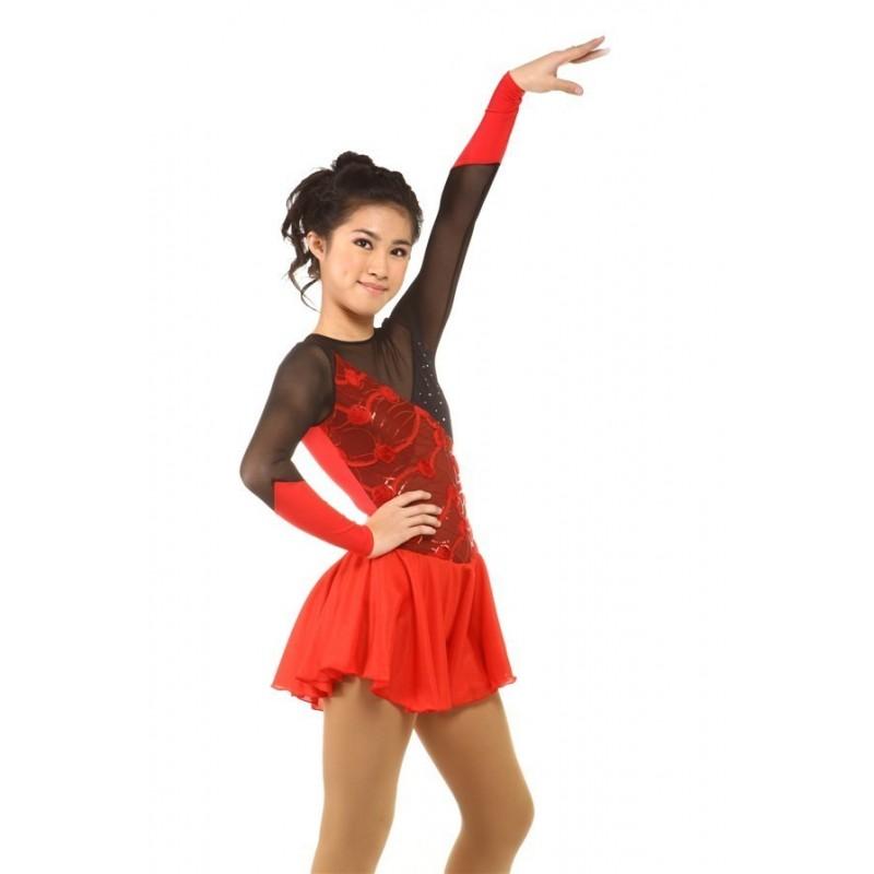 Figure skating dress - red - long-sleeves - diamante 2