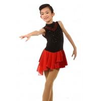 Figure skating dress - red - sleeveless - diamante 4