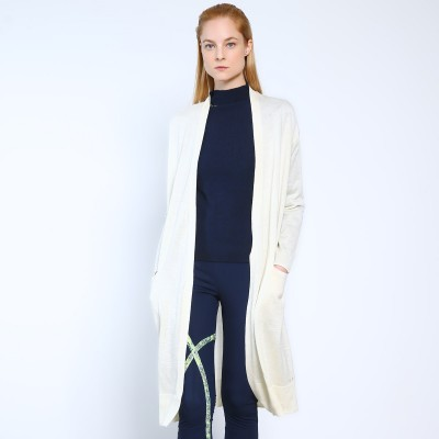 Ladies Knitted Long-sleeve Long Cardigan 100% Cashmere