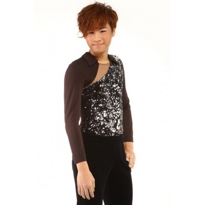 Figure skating top - brown - silver - long sleeves - collars - sequins