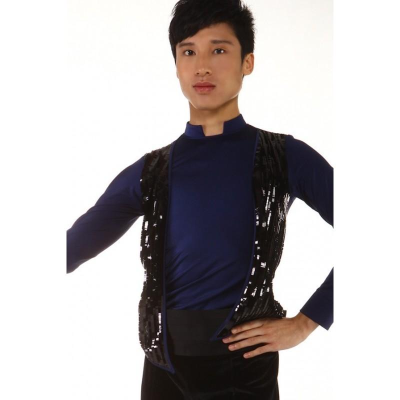 花样滑冰上衣,连身服,长袖,黑色亮片背心