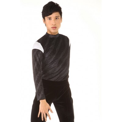 Figure skating top - body shirt - black - long sleeves - high-collar - rhinestones - Black
