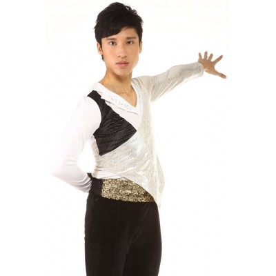 Figure skating top - body shirt - white - long sleeves - v-neck - rhinestones - White