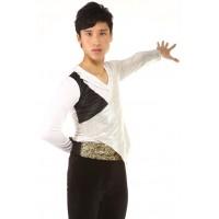 Figure skating top - body shirt - white - long sleeves - v-neck - rhinestones