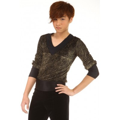 Figure skating top - black - gold - long sleeves - v-neck